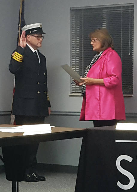 New Swanton Fire Chief Anthony Schaffer is sworn in by Mayor Ann Roth on Nov. 25.