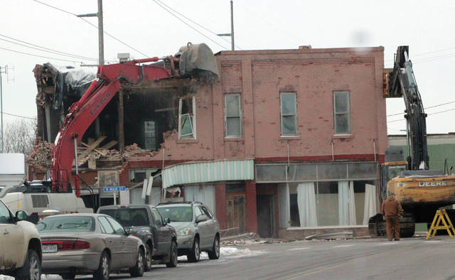 A section of downtown Swanton on N. Main Street was demolished.