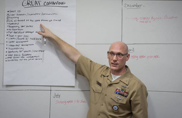 Senior Chief Aviation Structural Mechanic David Schuster, from Berkey, facilitates an Intermediate Leader Development Course (ILDC) for Sailors, assigned to Navy Talent Acquisition Group Philadelphia. ILDC is part of the Enlisted Leader Development courses for E-3 to E-6 Sailors that is designed to replace the Navys current petty officer selectee leadership courses, with the new material focusing on character, ethics, self-awareness, navigating stress, decision-making and what it means to be part of the profession of arms. NTAG Philadelphia encompasses regions of Pennsylvania, New Jersey, Delaware, Maryland and West Virginia, providing recruiting services from more than 30 talent acquisition sites with the overall goal of attracting the highest quality candidates to ensure the ongoing success of Americas Navy. (U.S. Navy photo by Mass Communication Specialist 1st Class Diana Quinlan/Released)