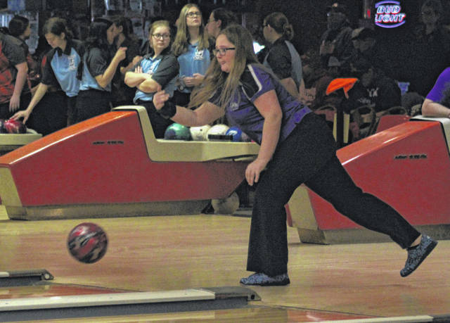 Amy Lawson of Swanton in action during the Division II sectional bowling tournament earlier this month. Lawson was selected first team All-NWOAL by league officials.
