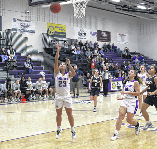 Swanton's Averie Lutz with an easy basket in the first half of Monday's game against Toledo Christian, the sixth ranked team in the state in Division IV when the new poll was announced Tuesday. The Bulldogs came from behind to defeat the Eagles, 45-39.