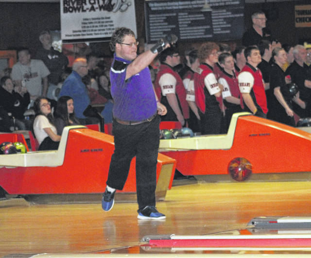 Riley Blankenship of Swanton bowls at the Division II sectional tournament in Napoleon Friday, Feb. 14. He was recently chosen honorable mention all-league by the NWOAL.