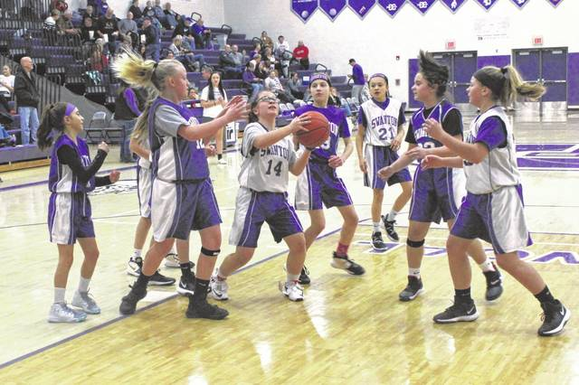 Members of the fifth and sixth grade Swanton Recreation girls basketball program performed on the big stage last Thursday when they took to the court at halftime of the Swanton High School varsity basketball game.