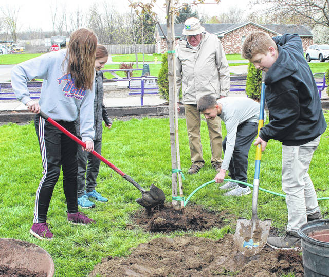 Students planted a tree at Swanton Middle School last April in observance of Arbor Day.