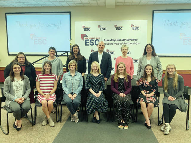 Fulton County scholarship winners are - front, from left - Sydney Schawecker, Pike-Delta-York; Kelly Miller, Pettisville; Claire Conrad, Evergreen; Maggie Roelfsema, Wauseon; Alexis Bergman, County Winner, Swanton; Zoee Keiser, Fayette; Kayla Boettger, Archbold - Honored Teachers, back row, from left - Jane Foor, Pike-Delta-York; Julie Richer, Pettisville; Amanda Matyi, Evergreen; James Vaughn, Wauseon; Mrs. Keaster, Swanton; Pamela Schultz, Fayette. Not pictured: Honored Teacher Andrea Oyer, Archbold.