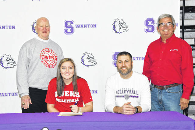 Swanton's Jessica Dohm recently signed her letter of intent to continue her education and volleyball career at Owens Community College. Pictured are front row, from left: Jessica Dohm and Swanton volleyball coach Kyle Borer. Back row: Dennis Caldwell (Owens assistant coach) and Sonny Lewis (Owens head coach).