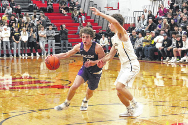 Josh Vance of Swanton drives against Archbold on Friday. Vance had 14 points in the contest.