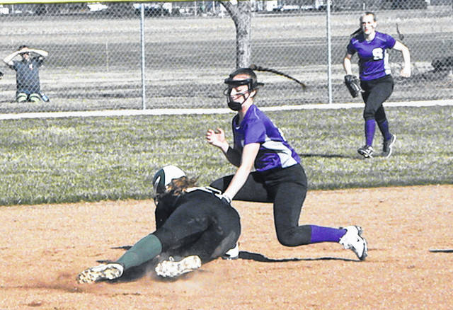 Swanton's Kailey Brownfield tags out a base runner during a game last season. With the announcement on Monday, April 20 from Ohio Governor Mike DeWine that school facilities will remain closed for the remainder of the academic year, spring sports have been canceled in 2020.