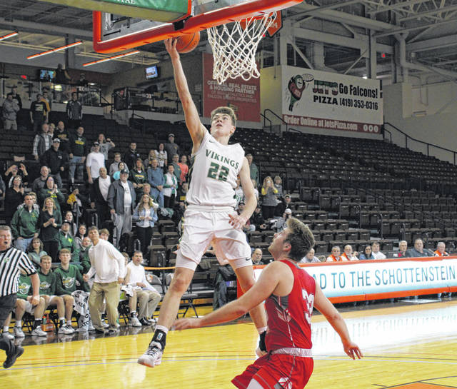 Evergreen senior Mason Loeffler lays one in during a Division III regional semifinal at BGSU's Stroh Center last month. Following the closing of Urbana University last week, the school he had committed to play for, Loeffler will now have to find a new place to continue his athletic and educational career.