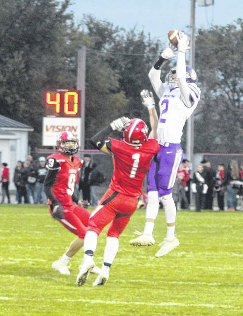 Swanton's Josh Vance makes a jumping catch in a game at Wauseon last season. For the 2020 season, the Bulldogs will once again compete in Division V, Region 18.
