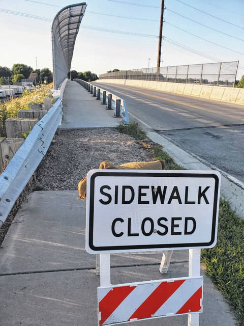 The sidewalk on the Hallett Avenue overpass in Swanton is closed due to damage.