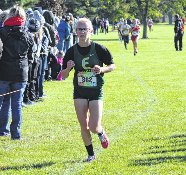 Kennedy Keller of Evergreen runs at last year's NWOAL Cross Country Championships in Bryan. She returns for the Vikings after being named honorable mention all-league as a junior.