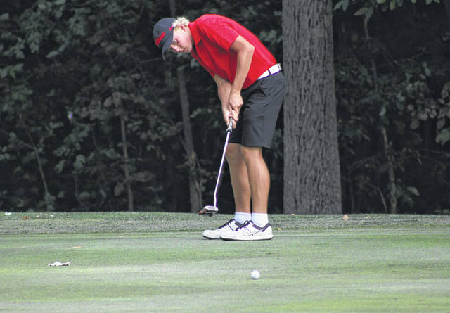 Andy Scherer of Wauseon nearly sinks a putt at Ironwood's sixth hole during a match with Fairview Thursday. He led all golfers with a 35 as the Indians downed the Apaches 167-184.
