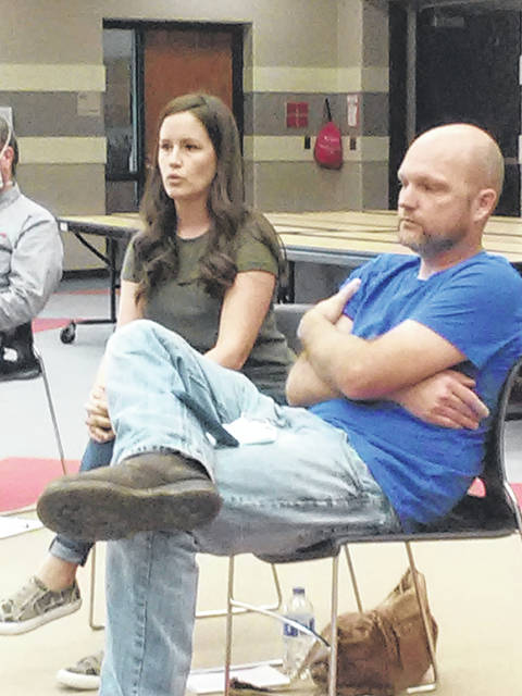 Jennifer and Mike O'Neill attended the Wauseon school board meeting Monday to question rules about masks in gym classes.