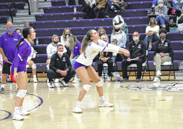 Brooke Dockery of Swanton digs a ball Monday in a Division III volleyball sectional semifinal held at Swanton. The Bulldogs took down the Delta Panthers in four sets.