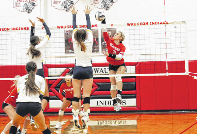Cameron Estep of Wauseon with a hit in a NWOAL match versus Archbold earlier this season. The OHSAA volleyball postseason gets underway next week.