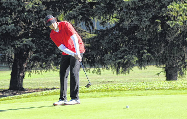 Wauseon's Dylan Grahn birdies the sixth hole during Thursday's Division II boys golf sectional tournament at Heather Downs Country Club in Toledo. Grahn, along with teammate Andy Scherer, earned runner-up honors to help the Indians take first as a team.