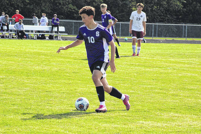 Hugo Bejarano of Swanton drives the ball up the field during a game this season. He was honorable mention all-district for the Bulldogs in Division III.