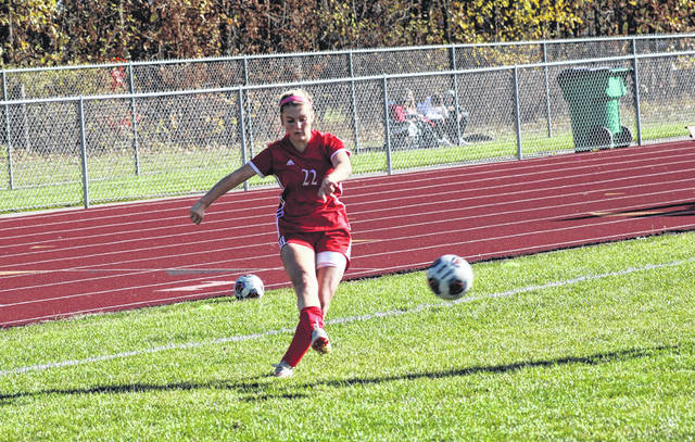 Wauseon's Kadence Carroll boots a ball in a sectional final in Wauseon this season. Carroll, along with teammate Macy Gerig, was named second team all-district in Division II.