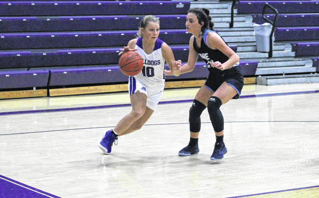 Jayden Hendricks of Swanton drives the baseline in the second half of a non-league contest with Lake on Tuesday, Nov. 24. The Bulldogs fell to the Flyers by a 51-34 final.