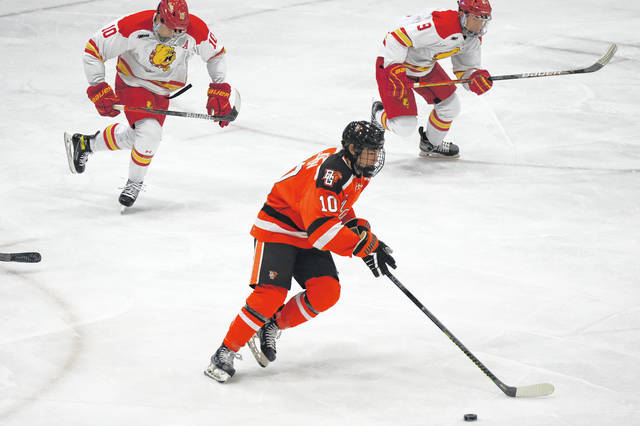 BG's Max Johnson moves the puck up the ice against Ferris State earlier this season.