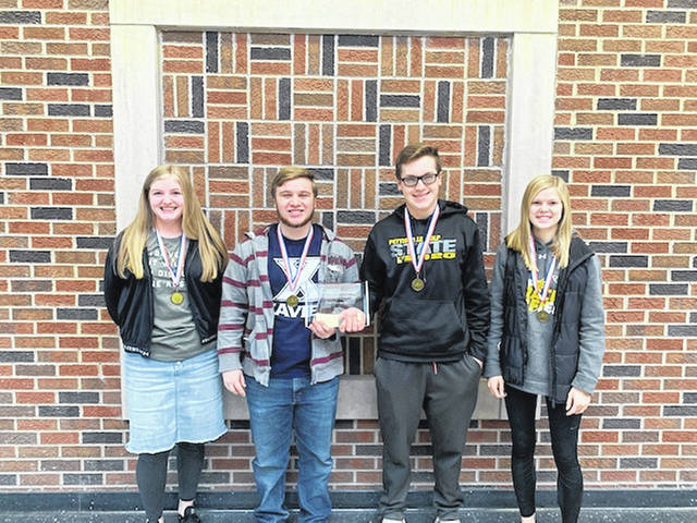 Pettisville varsity team members, from left, Lyla Heising, Heath Waidelich, Levi Myers, and Elise Hoylman.