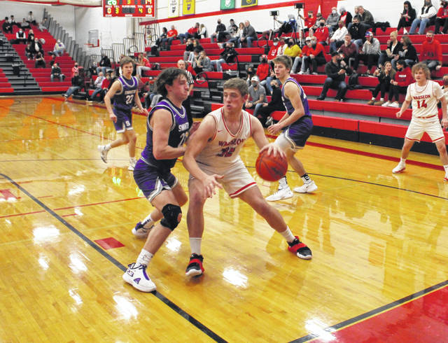 Isaac Wilson of Wauseon works his way towards the hoop Friday night versus Swanton in NWOAL play. The Indians were able to take control in the second half and earn a 52-36 win.