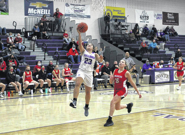 Swanton's Averie Lutz lays one in off a steal in a matchup with Wauseon this season. Averie and twin sister Aricka each received second team All-District 7 honors in Division III.