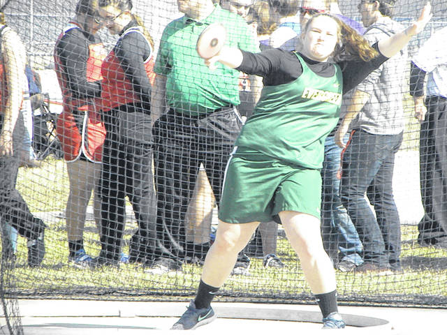 Jordan Lumbrezer of Evergreen tosses one in girls discus during a meet in the 2019 season. She is back for the Viking girls track and field team this season.