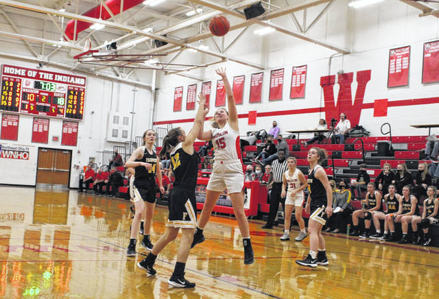 Marisa Seiler of Wauseon scores in a non-league contest with Fairview this season. She made the All-NWOAL first team for the Indians.