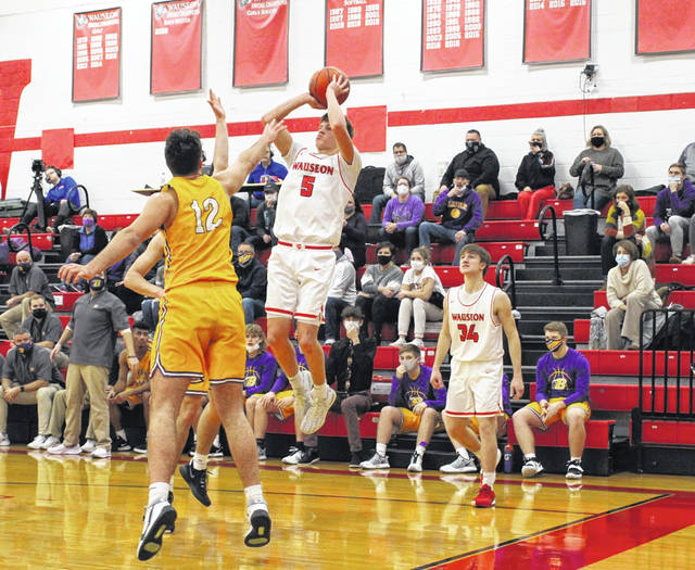 Wauseon's Jonas Tester shoots a jump shot in a NWOAL matchup with Bryan this season. Tester, along with teammate Connar Penrod, were named first team all-league for the Indians.