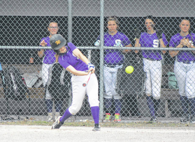 Swanton's Brianna Williams connects for an RBI double during a 2019 tournament game. She returns after being named honorable mention all-league as a freshman.
