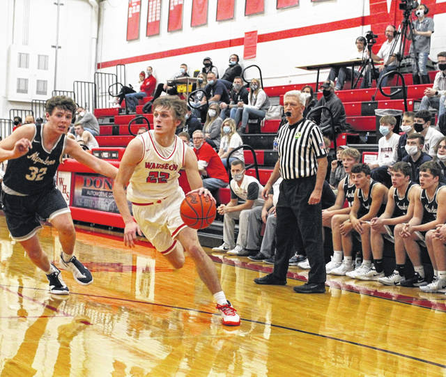 Wauseon's Connar Penrod drives in from the left wing versus Napoleon this season. Penrod was recently selected first team All-Northwest District in Division II.