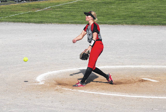 Wauseon's Macee Schang fires a pitch during Monday's game at Swanton. Schang picked up the win in the circle while recording six strikeouts to just one walk over six innings.