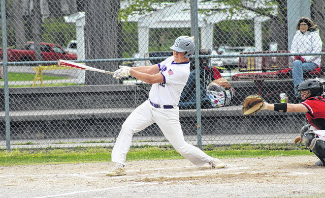 Drew Smigelski pulls through on an RBI single for Swanton during Monday's NWOAL matchup with Wauseon. He drove in two runs for the Bulldogs' offense.