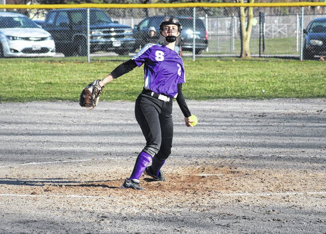 Swanton pitcher Brianna Williams delivers from the circle Monday in the season opener with Montpelier. Williams notched 10 strikeouts for the Bulldogs to help lead her team past the Locomotives, 8-4.