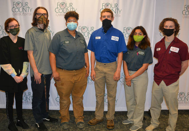 Six students from Four County Career Center in Archbold received bronze medals in the virtual 2021 Skills USA State Championships for placing third in the State of Ohio in their skill competition. They are - from left - Olivia Philpot of Napoleon, Harley Schwarz of Evergreen, Breanna Schaub of Evergreen, Shawn McCullough of Delta, Laila Perez of Archbold, and Jasper Purcell of Napoleon. The Skills Ohio Championships consists of over 100 career, technical and leadership contests. Participants are challenged to complete a project in their area of career and technical training within a specified time period while being scored by a panel of judges. FCCC Skills USA Lead Advisor is Krista Whetro.