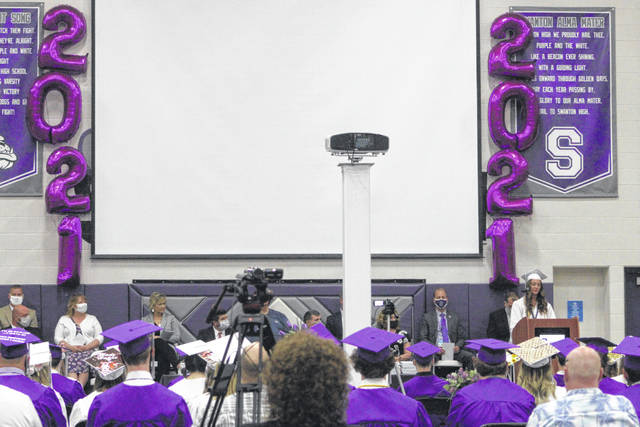 Salutatorian Kailey Brownfield speaks at Swanton High School's commencement on Sunday.
