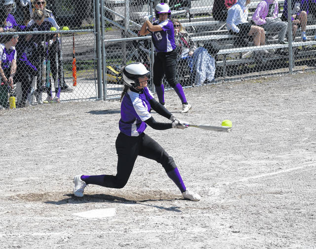 Swanton's Kailey Brownfield rips a ball foul in a non-league game versus Central Catholic Saturday, May 1. Over the weekend, the Bulldogs learned they will be seeded third in the Division III, Maumee District and receive a bye to the sectional final.