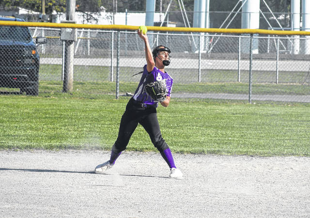 Swanton's Kailey Brownfield with a throw to first for an out during Friday's Division III sectional final versus Lake. Despite the Bulldogs getting out to a 3-0 lead early, they allowed big innings from the Flyers in the third and fourth as Lake advanced with a 13-5 victory.