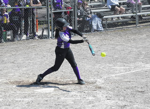 Rachel Waszak puts a ball in play for Swanton during Saturday's non-league battle with Toledo Central Catholic. The Bulldogs defeated Archbold 5-1 on Friday and Central Catholic 6-1 the next day.