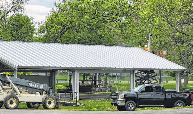 Work on the replacement Beard Pavilion in Swanton's Memorial Park is nearly complete. The pavilion was destroyed by a fallen tree just over two years ago. After the finishing touches are put on the roof this week, the area around the pavilion will be graded and seeded.