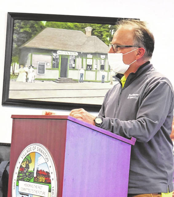 Mark Foertmeyer, owner of Foertmeyer & Sons, speaks to Swanton Council April 26 during a storm water utility appeal public hearing.