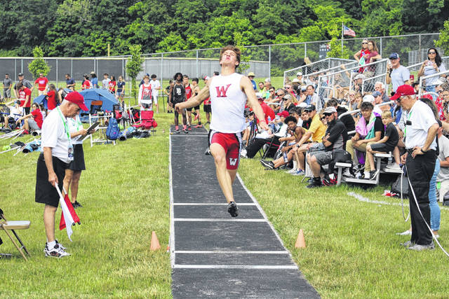Wauseon's Jonas Tester in the long jump competition on Friday at the Division II State Track and Field Championships in Pickerington. Tester registered a best jump of 21 feet, 6 inches, placing ninth as he narrowly missed making the podium.