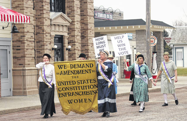 Rhe ratification of the 19th Amendment will be celebrated Saturday with a march down Sauder Village's Main Street.