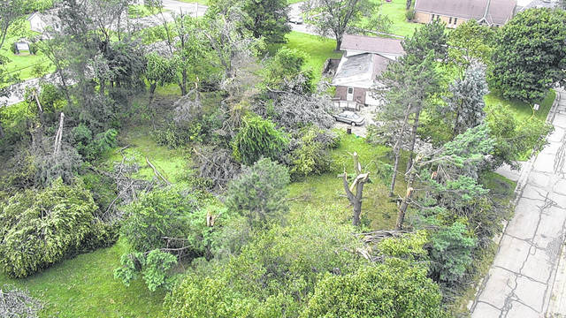 A drone photo from the Fulton County Sheriff's Office shows some of the tornado damage in Fayette.