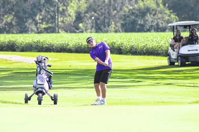 The Swanton golf team improved to 6-0 in matches after a 175-194 home win over Maumee on Monday, Aug. 23. Above, Swanton's Ryan O'Shea chips one onto the green at the 4th hole during the match with Maumee. O'Shea and Mazin Rukieh each shot a 42 for the Bulldogs, Garrett Swank a 45, while Lucas Bloom and Adam Lemon each added a 46. Swanton returns to action Tuesday when they play host to Lake at 5:30 p.m. at Valleywood.