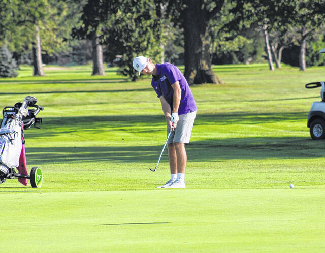 Swanton's Lucas Bloom with a chip at Valleywood's sixth hole in a match from earlier this season. Bloom shot a 41 to earn medalist honors as the Bulldogs defeated Archbold and Evergreen in a league tri-match on Thursday.