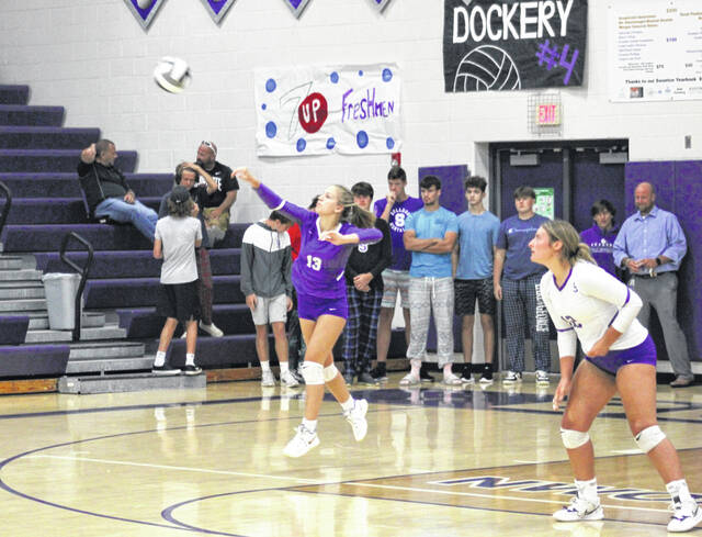 Bailey DeKoeyer records an ace for Swanton during a home match with Fayette on Monday, Aug. 30. The Bulldogs swept the Eagles, then traveled to Bryan the next night where they overcame a 2-0 deficit to win in five in the NWOAL opener.