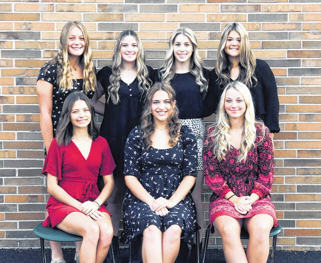 Delta High School has announced this year's Homecoming Court. They are, from left, back row- freshman attendant Kendall Sprow, junior attendants Sophia Burres and Khloe Weber and sophomore attendant Ella Demaline and front row- senior attendants Gabriela Ford, Ashley Gill and Samantha Maurer. The queen will be announced at the Homecoming game, Friday when Delta plays Archbold.